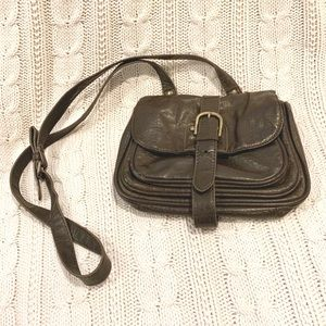 Brown Faux Leather Cross Body Snap Purse